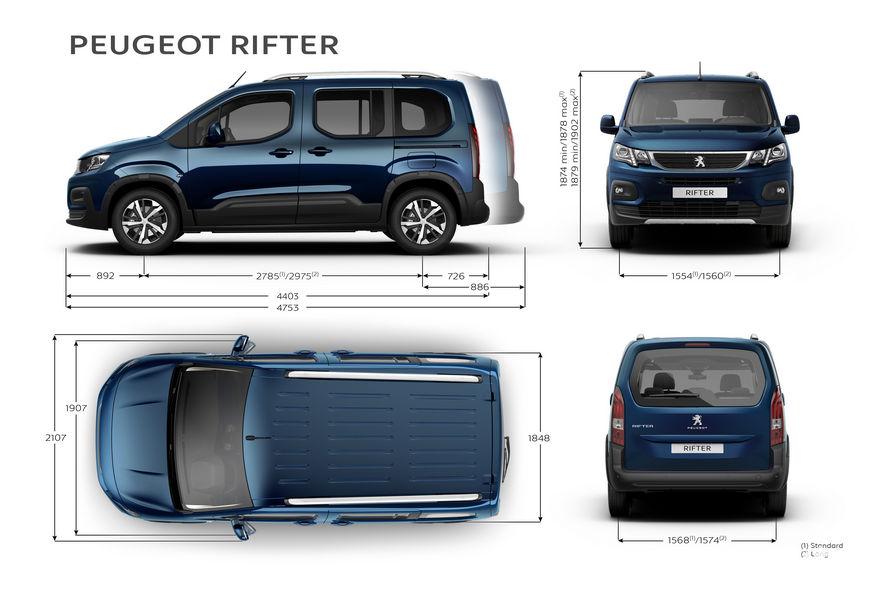 Peugeot Rifter dimensioni